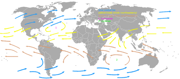 The westerlies (blue arrows) and trade winds (yellow and brown arrows) Map prevailing winds on earth.png