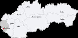 Localización en Eslovaquia.