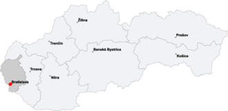 Geography of Bratislava - Location of Bratislava within the Bratislava Region and within Slovakia