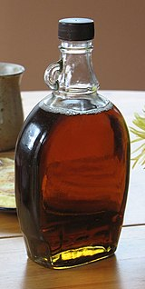 Bottle (unlabeled) of maple syrup