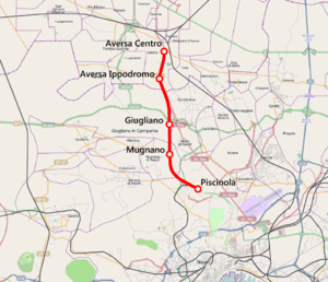 Naples–Aversa railway - Image: Mappa linea Arcobaleno MCNE
