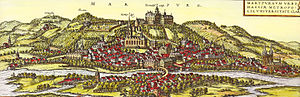 Marburg - Marburg from Georg Braun and Frans Hogenberg's atlas Civitates orbis terrarum, 1572