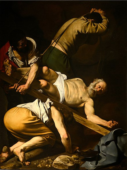 The Crucifixion of Saint Peter (1601) by Caravaggio Martirio di San Pietro September 2015-1a.jpg