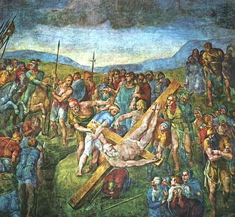 Cappella Paolina - Detail of the Crucifixion of St. Peter by Michelangelo in the Cappella Paolina.
