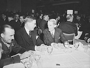 USS Marvin H. McIntyre (APA-129) - Marvin H. McIntyre(r) at a luncheon for the second anniversary of Lend-Lease