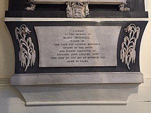Andrew Mitchell (Royal Navy officer) - Mary Mitchell, St. Paul's Church, Halifax, Nova Scotia