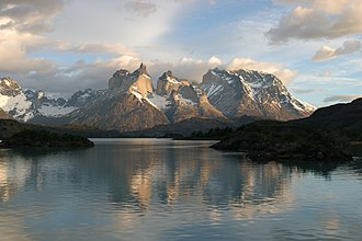 View of Cuernos del Paine in Torres del Paine National Park Massif Reflected.jpg
