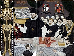 Barber surgeon - Master John Banister's Anatomical Tables, with Figures. The paintings comprise a portrait of Banister delivering a visceral lecture at the Barber-Surgeons' Hall, Monkwell Street, London. c. 1580
