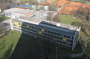 Max Planck Institute for Physics - Aerial view of the Max-Planck-Institute for Physics with assembly hall (left) and lecture hall (right)