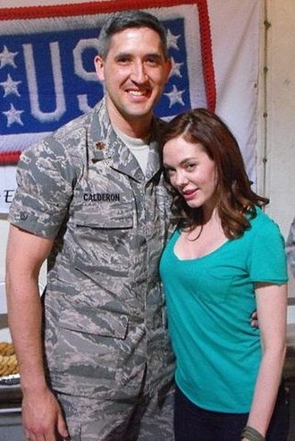 Rose McGowan - McGowan visits a member of the U.S. Air Force during a USO visit to Southwest Asia