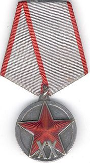"Jubilee Medal ""XX Years of the Workers and Peasants Red Army"" commemorative medal of the Soviet Union"