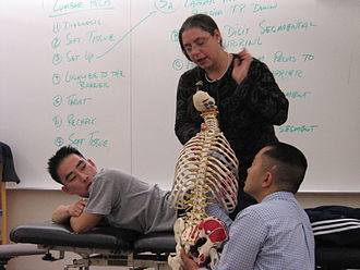 Osteopathic medicine in the United States - A physician demonstrates an OMT technique to medical students at an osteopathic medical school.