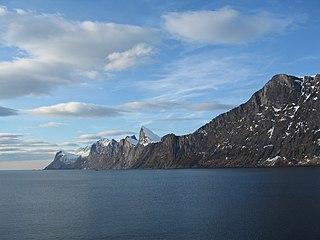 Mefjorden (Troms) fjord in Berg, Norway