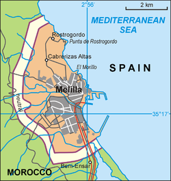 Map of Melilla, Spain