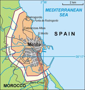 Melilla border fence - Layout of Melilla