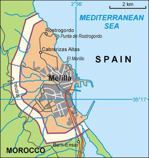 Melilla border fence Part of the Morocco–Spain border at Melilla