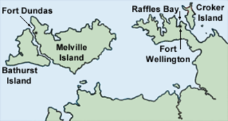 Fort Dundas - Location of Fort Dundas on Melville Island.
