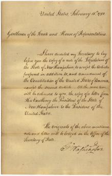 Message of President George Washington transmitting the vote of the legislature of New Hampshire on the Bill of Rights.djvu