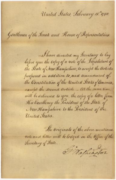 File:Message of President George Washington transmitting the vote of the legislature of New Hampshire on the Bill of Rights.djvu