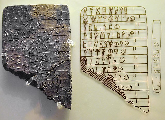 Tablilla de barro en griego micénico estilo Lineal B
