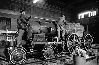 Swinburne, Smith and Company - The William Crooks, bearing the imprint of the New Jersey Locomotive and Machine Company, being dismantled for a move to the Lake Superior Railroad Museum.