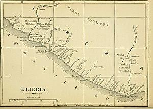 Cape Mesurado - The map of Liberia dated 1895 with Cape Mesurade on the map.