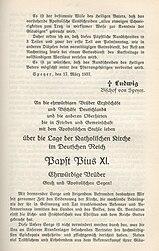 """První strana encykliky """"S palčivým znepokojením"""", vydání z diecéze Speyer, s usnesením biskupa Ludwiga Sebastiana, vytištěno v Jäger'schen Druckerei Speyer, které bylo proto vyvlastněno"""