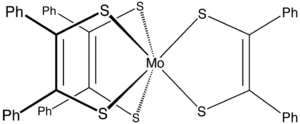 Metal dithiolene complex - Structure of Mo(S2C2Ph2)3