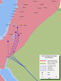 Map detailing the Rashidun Caliphate's invasion of Levant