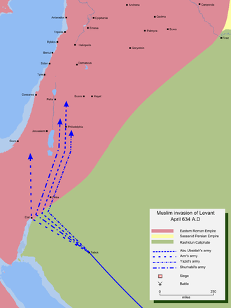 Muslim conquest of the Levant - Map detailing Rashidun Caliphate's invasion of the Levant.