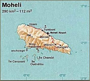 Geography of the Comoros - Map of Moheli