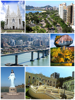 From the top, left to right: Our Lady of Victory Cathedral; Saturnino de Brito avenue; Pedra da Cebola Park; Anchieta Palace; Iemanjá Pier and Third Bridge.