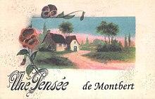 Carte postale naïve représentant un bâtiment avec la légende «Une pensée de Montbert».