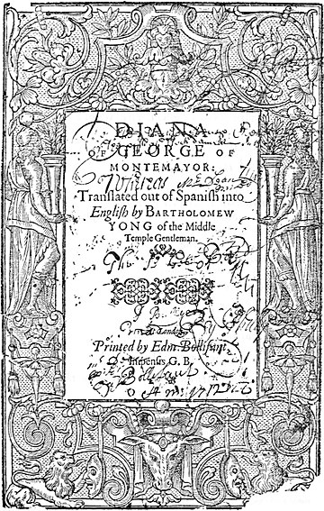 Montemayor's Diana, Yonge's translation (1598) title page.jpg