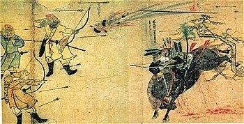The Samurai Suenaga facing Mongols, during the Mongol invasions of Japan. Moko Shurai Ekotoba (蒙古襲来絵詞), circa 1293.