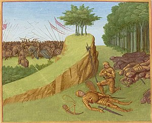 The Song of Roland - The death of Roland at the Battle of Roncevaux, from an illuminated manuscript c.1455–1460.