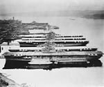 Mothballed aircraft carriers at the Puget Sound Naval Shipyard in 1948 (80-G-428458).jpg