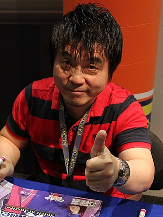 Ace Attorney - The series was created by Shu Takumi (left); starting with Investigations, it has been handled by producer Motohide Eshiro (pictured, right) and director Takeshi Yamazaki.