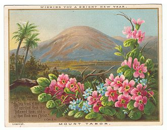 Mount Tabor - Mount Tabor, by Helga von Cramm. New Year chromolithographic card, c. 1870–1880. C. Caswell.