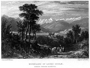 Locris - The mountains of Ozolian Locris, looking towards Naupactus, engraving.