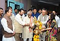 Mukhtar Abbas Naqvi lighting the lamp at the inauguration of the Annual Conference of State Channelising Agency (SCAs) of National Minority Development and Finance Corporation (NMDFC), in Hyderabad.jpg