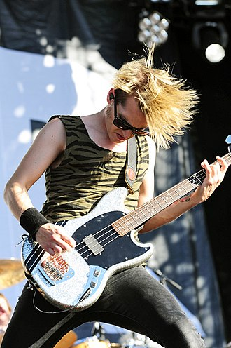 Mikey Way - Way performing in 2012 on his signature Fender Mustang Bass