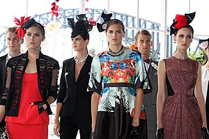 Amber Sherlock - Amber Sherlock, (pictured third from left), at the Myer Racing collection preview in 2013