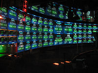 The TV studio at the NASDAQ MarketSite, where CNBC's market updates and the show Fast Money are hosted.