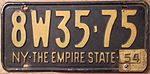 "NEW YORK 1954 LICENSE PLATE, 1953 plate with ""54"" TAB - Flickr - woody1778a.jpg"
