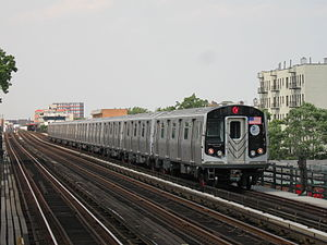 W (New York City Subway service) - A train made of R160 cars in W service at 36th Avenue in Queens