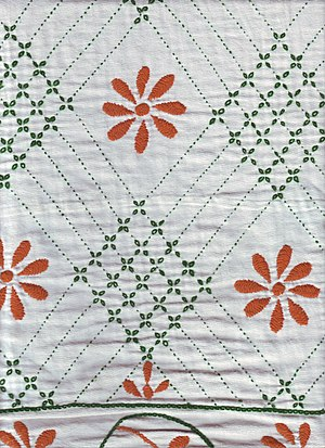 Nakshi kantha - Close view of a contemporary Nakshi kantha with flower motif