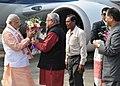 Narendra Modi being received by the Governor of Assam, Nagaland & Tripura, Shri Padmanabha Balakrishna Acharya and the Chief Minister of Assam, Shri Tarun Gogoi, on his arrival at Dibrugarh, Assam on February 05, 2016.jpg