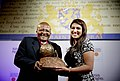 Neha Gupta receiving the International Children's Peace Prize.JPG