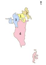Mapa Bahrajnu przedstawiająca gubernatorstwa